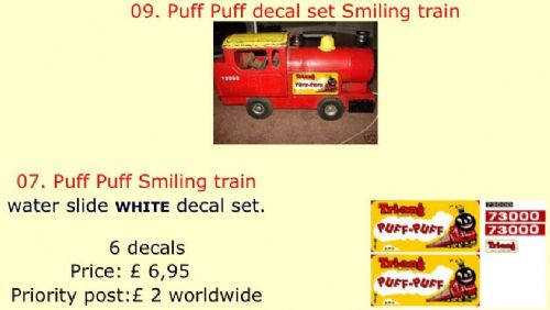 09. Tri-ang Puff Puff decal set Smiling train